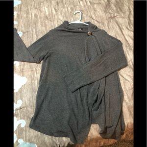 Bobeau grey side button knit cardigan.